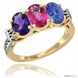 10K Yellow Gold Natural Amethyst, Pink Topaz & Tanzanite Ring 3-Stone Oval 7x5 mm Diamond Accent