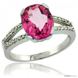 Sterling Silver and Diamond Halo Natural Pink Topaz Ring 2.4 carat Oval shape 10X8 mm, 3/8 in (10mm) wide
