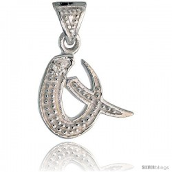 Sterling Silver Fancy Initial Letter Q Initial Pendant CZ Stone, 3/4 in long