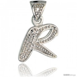 Sterling Silver Fancy Initial Letter R Initial Pendant CZ Stone, 3/4 in long