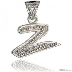 Sterling Silver Fancy Initial Letter Z Initial Pendant CZ Stone, 3/4 in long