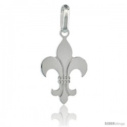 Sterling Silver Fleur De Lis Pendant, 1 1/16 in. (27 mm) tall w/ 18 in. Thin Box Chain