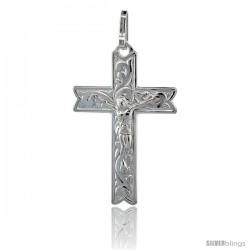 Sterling Silver Floral Vine Designed Crucifix Pendant, 1 7/16 in. (37 mm) tall w/ 18 in. Thin Box Chain