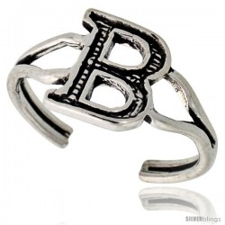 Sterling Silver Initial Letter B Alphabet Toe Ring / Baby Ring, Adjustable sizes 2.5 to 5, 3/8 in wide