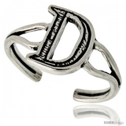 Sterling Silver Initial Letter D Alphabet Toe Ring / Baby Ring, Adjustable sizes 2.5 to 5, 3/8 in wide