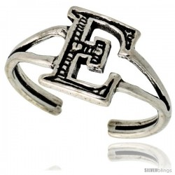 Sterling Silver Initial Letter E Alphabet Toe Ring / Baby Ring, Adjustable sizes 2.5 to 5, 3/8 in wide