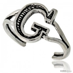 Sterling Silver Initial Letter G Alphabet Toe Ring / Baby Ring, Adjustable sizes 2.5 to 5, 3/8 in wide