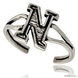 Sterling Silver Initial Letter N Alphabet Toe Ring / Baby Ring, Adjustable sizes 2.5 to 5, 3/8 in wide