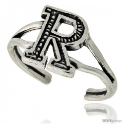 Sterling Silver Initial Letter R Alphabet Toe Ring / Baby Ring, Adjustable sizes 2.5 to 5, 3/8 in wide