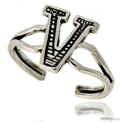 Sterling Silver Initial Letter V Alphabet Toe Ring / Baby Ring, Adjustable sizes 2.5 to 5, 3/8 in wide