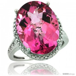 Sterling Silver Diamond Natural Pink Topaz Ring 13.56 Carat Oval Shape 18x13 mm, 3/4 in (20mm) wide