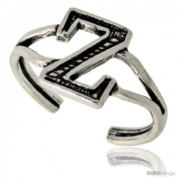 Sterling Silver Initial Letter Z Alphabet Toe Ring / Baby Ring, Adjustable sizes 2.5 to 5, 3/8 in wide