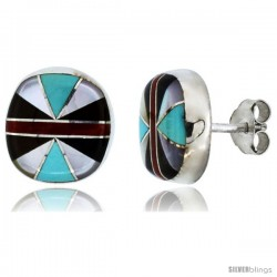 Sterling Silver Handcrafted Multi Color Round Stud Earrings (Genuine Zuni Tribe American Indian Jewelry) 7/16 in. (11 mm)