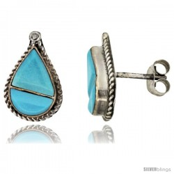 Sterling Silver Handcrafted Blue Turquoise Teardrop Stud Earrings (Genuine Zuni Tribe American Indian Jewelry) 9/16 in. (15 mm)