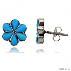 Sterling Silver Handcrafted Blue Turquoise Stud Earrings (Genuine Zuni Tribe American Indian Jewelry) 1 in. (25 mm)