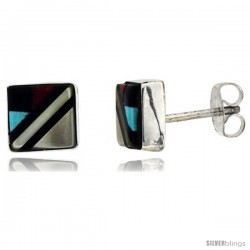 Sterling Silver Handcrafted Multi Color Square Stud Earrings (Genuine Zuni Tribe American Indian Jewelry) 5/16 in. (8 mm)