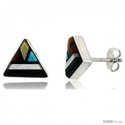 Sterling Silver Handcrafted Multi Color Triangle Stud Earrings (Genuine Zuni Tribe American Indian Jewelry) 3/8 in. (10 mm)