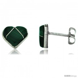 Sterling Silver Handcrafted Green Malachite Heart Stud Earrings (Genuine Zuni Tribe American Indian Jewelry) 5/16 in. (8 mm)