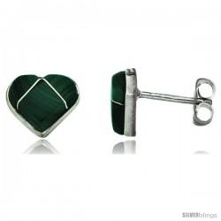 Sterling Silver Handcrafted Green Malachite Heart Stud Earrings (Genuine Zuni Tribe American Indian Jewelry) 5/16 in. (8 mm)