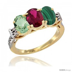 10K Yellow Gold Natural Green Amethyst, Ruby & Malachite Ring 3-Stone Oval 7x5 mm Diamond Accent