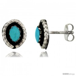 Sterling Silver Handcrafted Blue Turquoise Oval Stud Earrings (Genuine Zuni Tribe American Indian Jewelry) 3/8 in. (10 mm)
