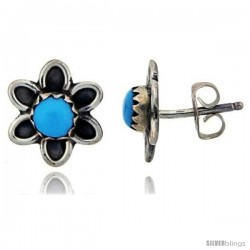 Sterling Silver Handcrafted Blue Turquoise Stud Earrings (Genuine Zuni Tribe American Indian Jewelry) 1 in. (25 mm) -Style Je35