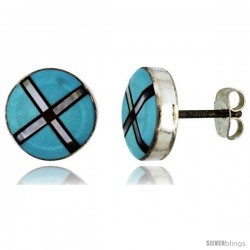 Sterling Silver Handcrafted Blue Turquoise Round Stud Earrings (Genuine Zuni Tribe American Indian Jewelry) 3/ -Style Je4