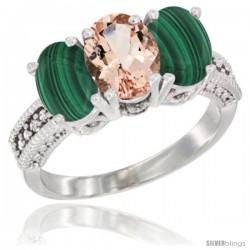 10K White Gold Natural Morganite & Malachite Sides Ring 3-Stone Oval 7x5 mm Diamond Accent