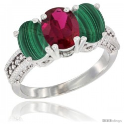 10K White Gold Natural Ruby & Malachite Sides Ring 3-Stone Oval 7x5 mm Diamond Accent