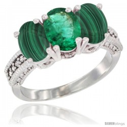 10K White Gold Natural Emerald & Malachite Sides Ring 3-Stone Oval 7x5 mm Diamond Accent