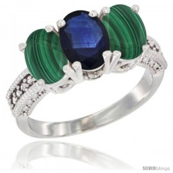 10K White Gold Natural Blue Sapphire & Malachite Sides Ring 3-Stone Oval 7x5 mm Diamond Accent