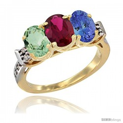 10K Yellow Gold Natural Green Amethyst, Ruby & Tanzanite Ring 3-Stone Oval 7x5 mm Diamond Accent