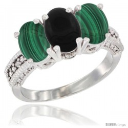 10K White Gold Natural Black Onyx & Malachite Sides Ring 3-Stone Oval 7x5 mm Diamond Accent