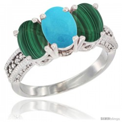 10K White Gold Natural Turquoise & Malachite Sides Ring 3-Stone Oval 7x5 mm Diamond Accent