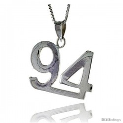 Sterling Silver Digit Number 94 Pendant 3/4 in. (18 mm)