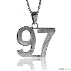 Sterling Silver Digit Number 97 Pendant 3/4 in. (18 mm)