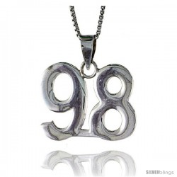 Sterling Silver Digit Number 98 Pendant 3/4 in. (18 mm)
