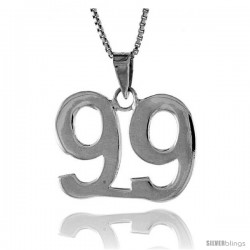 Sterling Silver Digit Number 99 Pendant 3/4 in. (18 mm)