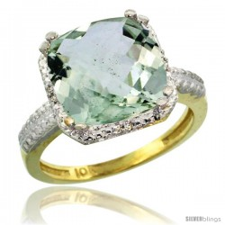 10k Yellow Gold Diamond Green-Amethyst Ring 5.94 ct Checkerboard Cushion 11 mm Stone 1/2 in wide