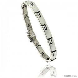 Sterling Silver Men's Horseshoe Link Bracelet Handmade 1/4 in wide