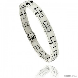Sterling Silver Men's Dovetail Link Bracelet Handmade 3/8 in wide