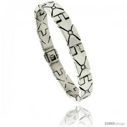 Sterling Silver Men's Iron Cross Link Bracelet Handmade 3/8 in wide