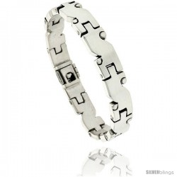 Sterling Silver Men's S-shaped Link Bracelet Handmade 3/8 in wide
