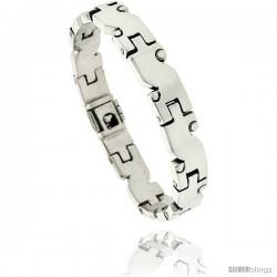 Sterling Silver Men's S-shaped Link Bracelet Handmade 3/8 in wide