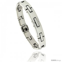 Sterling Silver Men's H Link Bracelet Handmade 3/8 in wide