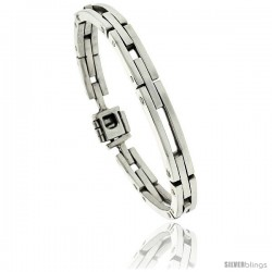 Sterling Silver Men's Bar Cut Outs Link Bracelet Handmade 1/4 in wide