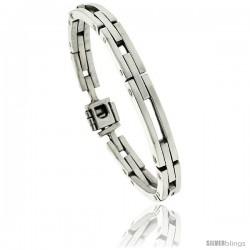 Sterling Silver Men's Bar Cut Outs Link Bracelet Handmade 1/4 in wide