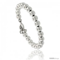 Sterling Silver Polished 8mm Ball Bead Bracelet Toggle-clasp 7.5 in long