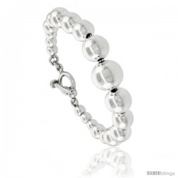Sterling Silver Polished Graduated Ball Bead Bracelet Toggle-clasp 7 3/4 in