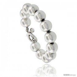 Sterling Silver Polished 14mm Ball Bead Bracelet Toggle-clasp 8 1/4 in long